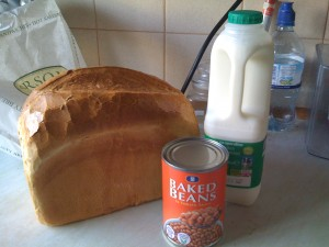 Milk, bread and beans