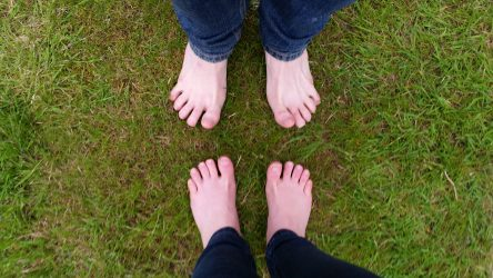 bare-feet on the grass
