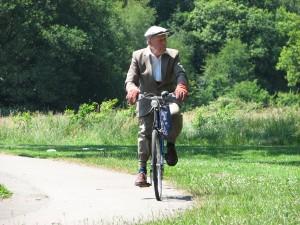 Old man cycling